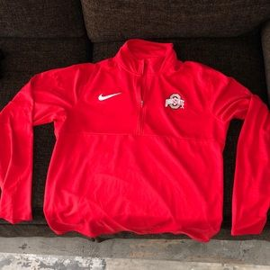 Nike Red Ohio State 1/4 Qtr Zip sz Large (Dri-Fit)